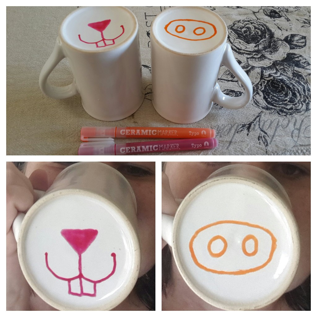 DIY mug art - make our own animal nose mugs
